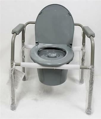 NOVA Medical Products 3-in-1 Commode Portable Toilet  Grey, 11 Pound