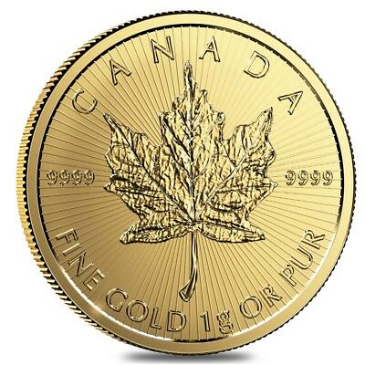 2017 1 gram Canadian Gold Maples $.5 Coin .9999 Fine (From Individual Assays)