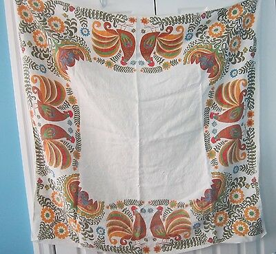 Vintage Rooster Chicken Floral Fabric Square Kitchen Tablecloth 49 X 49