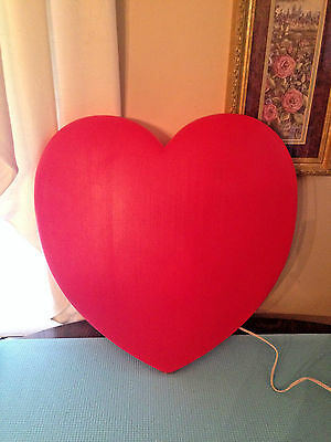"""Blow Mold Puffed Heart Red Valentine's Day Plastic Lighted 19"""" Union"""
