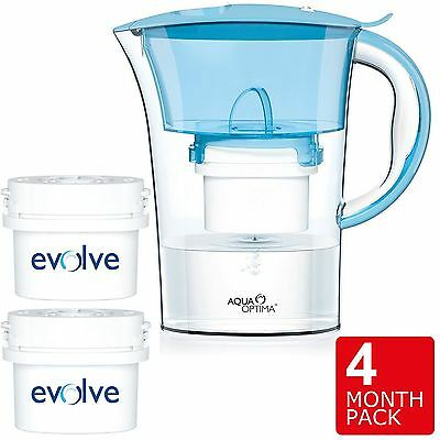 Aqua Optima Clarion Compact Fridge Water Jug 2L + 2x 60-Day Filter, 4 Month Pack