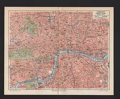 Landkarte city map 1897, Plan LONDON innere Stadt. Grossbritannien Themse