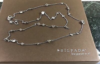 """SILPADA Sterling Silver SCATTERED STARS Cubic Zirconia 32"""" Long Necklace N2152"""