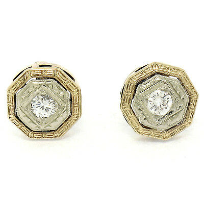 Antique Art Deco 14K Gold Round Transitional F VS Diamond Etched Stud Earrings