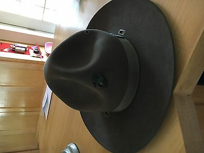 VTG Campaign Boy Scout Forest Ranger Military Hat Smokey Bear USMC Trooper w/pin