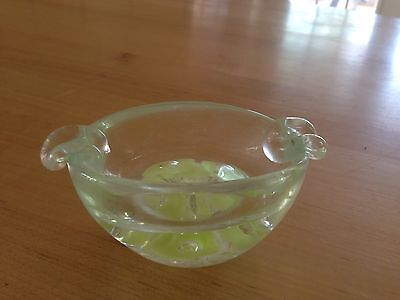 Vintage Marked Joe St. Clair Art Glass Controlled Bubbles Ashtray/Paperweight