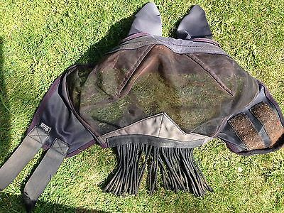 Shires Fine Mesh Fly Mask Hood, Fringe With Full Face And Ears