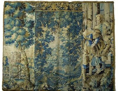 An Important & Large Antique Verdure Tapestry with Soldiers, Castle and Trees