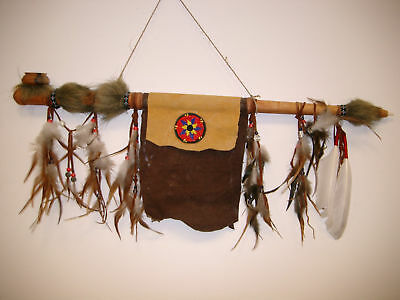 HANDMADE NATIVE INDIAN FUNCTIONAL DECORATIVE WOODEN HANGING PEACE PIPE / pipe70S