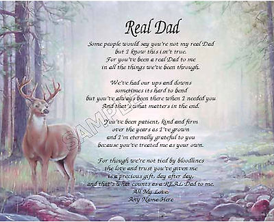 Real Dad Personalized Art Poem Memory Birthday Father's Day Gift