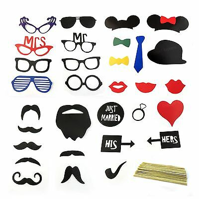 Just Married His and Hers Photo Booth Wedding Selfie Party Props on Stick 31Pcs