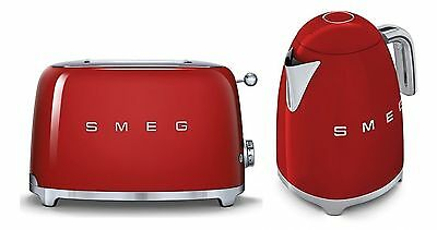 Smeg TSF02RDUK KLF01RDUK | 50s Retro Style 4 Slice Toaster & Kettle Set in Red