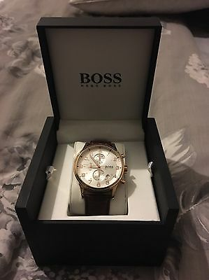hugo boss watch Men's Watch. Rose Gold And Brown Croc Strap