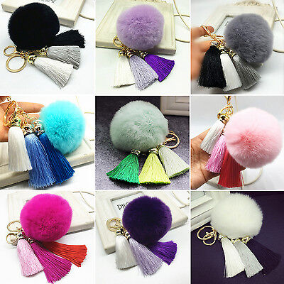 WL Soft Rabbit Fur Ball  Cell Phone Car Tassel Pendant Handbag Key Chain Ring