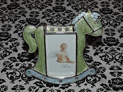 """Baby Rocking Horse Silver Plated Picture Frame 2"""" x 3"""" Photo 4"""" x4.5"""" Frame NEW"""