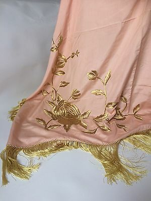 Antique 1920's Silk Piano Shawl Scarf With Hand Embroidery