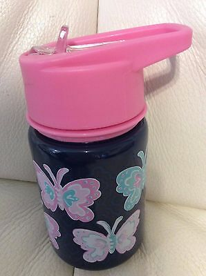 Pottery Barn Kids Mackenzie Water Bottle Navy Pink Butterfly New, Unused Thermos