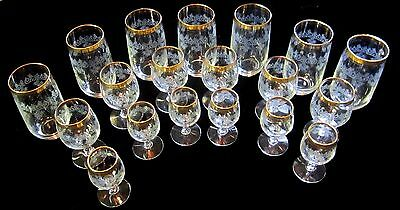 Set of 7 Mid Century Modern MCM Gold Rim Band With Etched Vines/Leaves Tumblers
