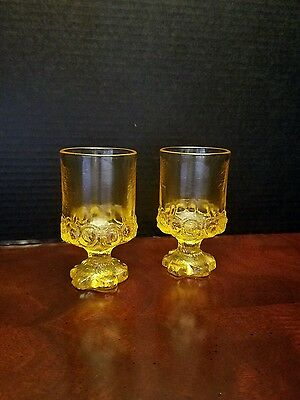 2 Tiffin Franciscan Madeira Cornsilk Yellow Gold footed Wine/Juice Glasses