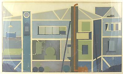 A Modernist 1960's Architectural print. Scandinavian Midcentury Cross section