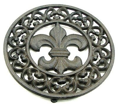 PAIR Set/2 Ornate Fleur De Lis Trivet CAST IRON KITCHEN Home Decor Trivets LOT