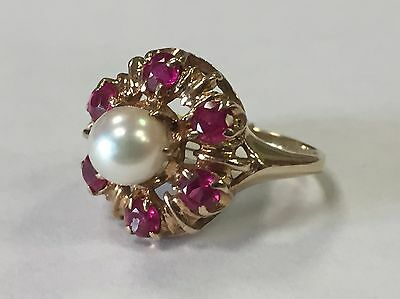 Vintage 10k Yellow Gold Pearl Ring with Ruby Accents Size 5.5