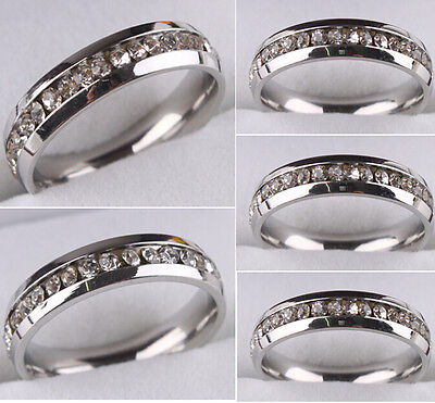 10 X  Silver Women Ladies Zircon Stainless Steel CZ Rings Fashion Wedding Rings