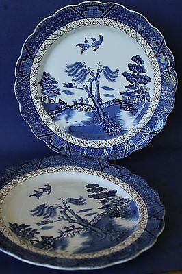 Booths, Real Old Willow large dinner plates x 2.