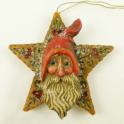Midwest Pam Schifferl Folk Art Santa Father Christmas Face on Star Ornament