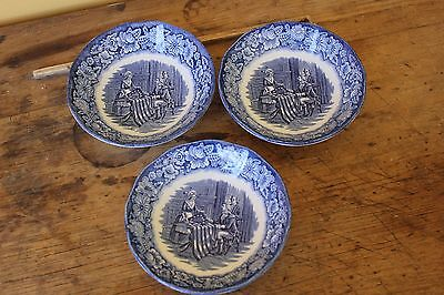 Vintage Liberty Blue Historic Colonial Scenes small bowls.