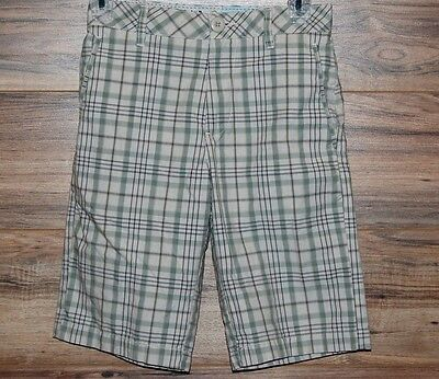 Big Youth Volcom Plaid Shorts Boys Casual Green Gray Khaki Size 26 (12)