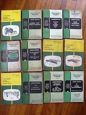 Lot of 12 John Deere Operator Manuals Disk Harrow Killefer Drill Bedders