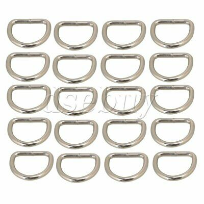 20pcs Silvery Metal D Ring D Shaped Buckle for Bags Purses Backpack Straps