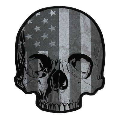American Flag Half Skull Subdued Patch, Back Patches