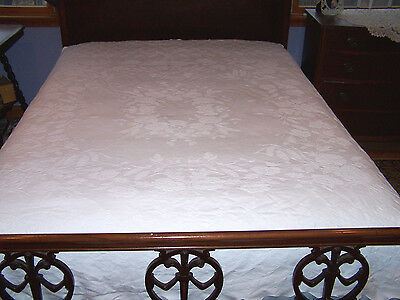 Stunning Vintage Snow White Coverlet, Bedspread Floral Motif, Poster Cutout 1930