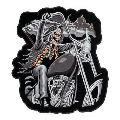 GRIM REAPER RIDING MOTORCYCLE PATCH P8170 NEW jacket BIKER EMBROIDERED IRONON