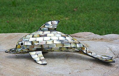 """Unique 8"""" Dolphin Handmade From Mother of Pearl Shell in Sleek Silver Style Home"""