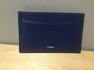 Authentic Excellent Cartier Card Holder case Leather Blue Wallet