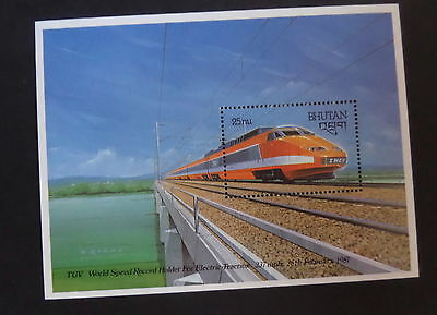 Bhutan 1988 Railway Locomotive Train French Express MNH UM unmounted mint MS