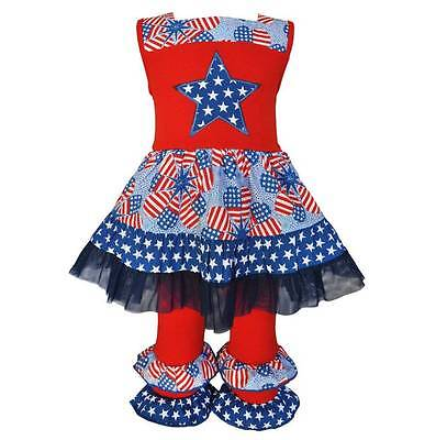 AnnLoren Girls Boutqiue Patriotic Dress and Capri Outfit  12-18 or 24 Months