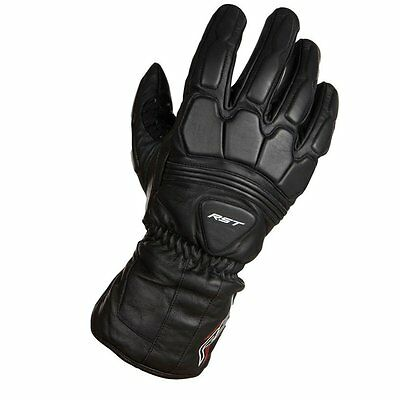 RST Rev Summer Leather Gloves - Black Commuting Leather Motorcycle Motorbike Tou