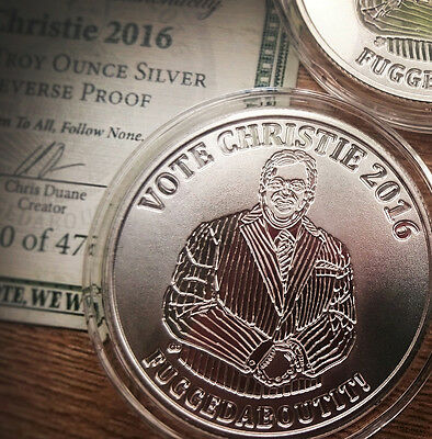 SILVER SHIELD - OLIGARCHY - VOTE CHRISTIE - 1oz .999 SILVER PROOF COIN 2016