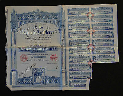 ACTION A LA REINE D'ANGLETERRE 1924 grand magasin PARIS french bond stock share