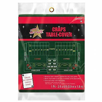 6ft Place Your Bets Casino Craps Game Night Green Felt Table Cover Vegas Party
