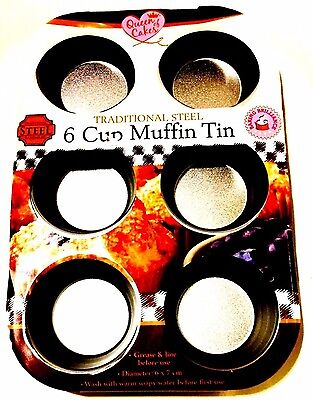 Queen Of cake Non-Stick 6 Cup Muffin Pan Metal CupCake Baking Pans Tray.