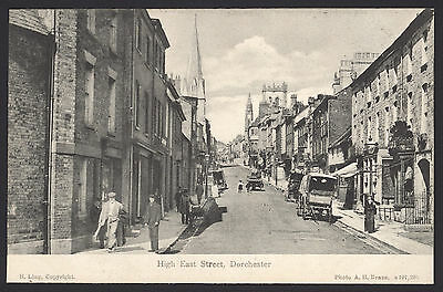 Dorset. Dorchester. High East Street with lots going on. Vintage Postcard. Ling