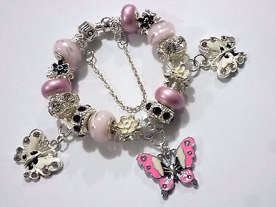 Girls Ladies Pink  European Charm Bracelet With Crystal Butterfly Dangle Charms.