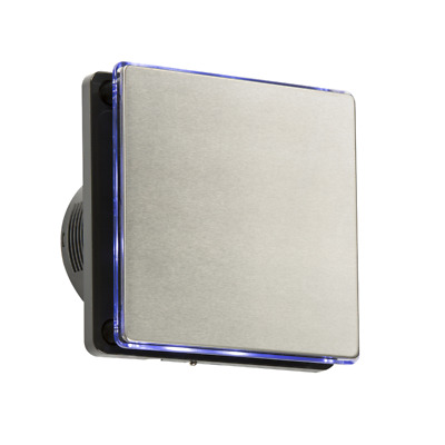 """4"""" Backlit LED Wall & Ceiling Brushed Chrome Extractor Fan & Overrun Timer"""