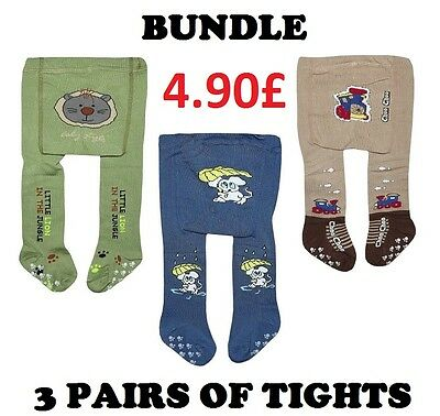 3 PAIRS Bundle COTTON Baby Boys Tights Leg Warmers ANTI SLIP ABS SOLE 0-6 months