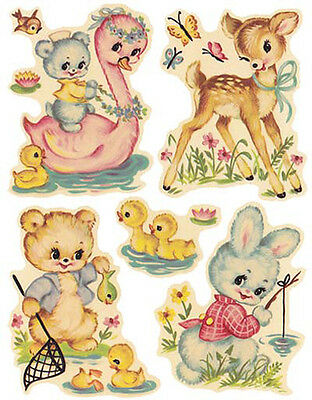 VinTaGe AsSoRTeD NuRSerY ANiMaLs ShaBby DeCALs